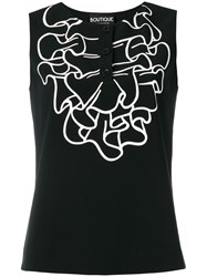 Boutique Moschino Ruffle Print Tank Black