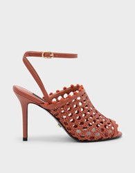 Charles And Keith Basket Weave Ankle Strap Mules Brick