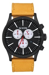 Nixon Men's The Sentry Chronograph Leather Strap Watch 42Mm Goldenrod Black