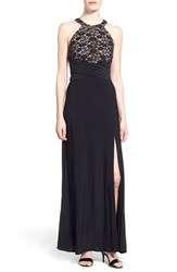 Junior Women's Morgan And Co. Sequin Glitter Lace Gown Black Nude