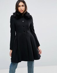 Asos Swing Coat With Faux Fur Collar Black
