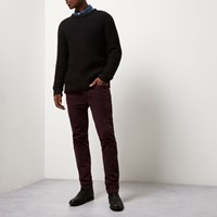River Island Mens Red Skinny Corduroy Chino Trousers