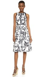 Lela Rose Modified Halter Dress Black Ivory