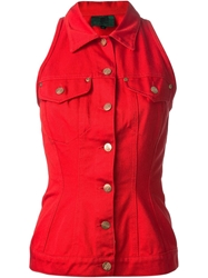 Jean Paul Gaultier Vintage Sleeveless Denim Jacket Red