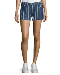 7 For All Mankind Striped Denim Cutoff Shorts Indigo