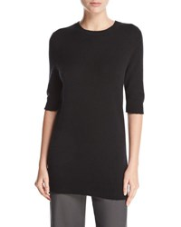 Vince Long Cashmere Half Sleeve Sweater Black