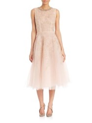 Oscar De La Renta Jeweled Neck Silk Cocktail Dress Champagne