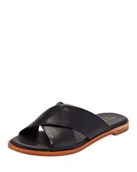 Cole Haan Anica Grand Crisscross Flat Slide Sandals Black