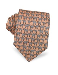 Laura Biagiotti Elephants Print Silk Narrow Tie Light Pink