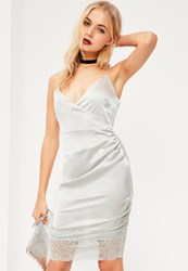 Missguided Grey Silky Eyelash Lace Trim Wrap Bodycon Dress