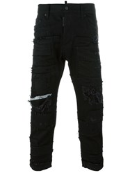 Dsquared2 Glam Head Distressed Patchwork Jeans Black
