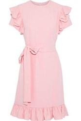 Mikael Aghal Woman Ruffle Trimmed Stretch Crepe Dress Baby Pink