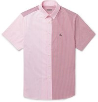 Lanvin Button Down Collar Panelled Striped Cotton Oxford Shirt Pink