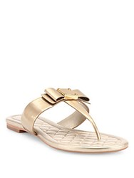 Cole Haan Tali Bow Patent Metallic Leather Thong Sandals Soft Gold