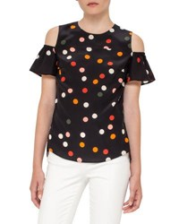 Akris Punto Polka Dot Cold Shoulder Top Black