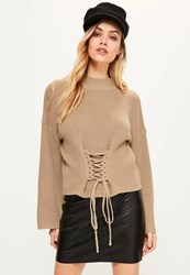 Missguided Camel Extreme Sleeve Corset Funnel Neck Jumper