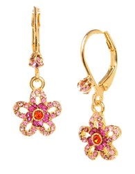 Betsey Johnson Crystal Flower Drop Earrings Rose Quartz Gold