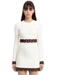David Koma Cady And Macrame Lace Cropped Top
