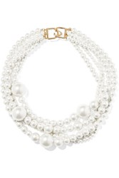 Kenneth Jay Lane Layered Gold Tone Faux Pearl Necklace White