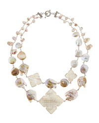 Stephen Dweck Two Strand Carved Pearl Necklace