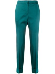 Pt01 Side Stripe Detail Cropped Trousers Green