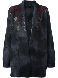 Avant Toi Flowers Embroidered Cardigan Grey