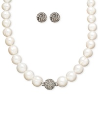 Honora Style Cultured Freshwater Pearl 7Mm And Grey Crystal Stud Jewelry Set In Sterling Silver White