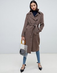 Selected Femme Check Wool Wrap Coat Multi