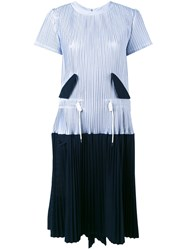Sacai Micro Pleated Two Part Dress Women Cotton Polyester Cupro 1 Blue