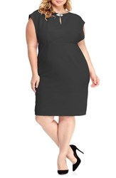 London Times Plus Size Women's Embellished Empire Waist Dress