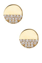 Argentovivo 18K Gold Plated Sterling Silver Half Cz Stud Earrings Metallic