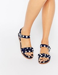 Asos Fresco Bow Sandals Polka Dot Navy Multi