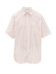 Schnayderman's Oversized Striped Cotton Blend Shirt Orange White