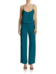 Haute Hippie Silk Wide Leg Jumpsuit Teal