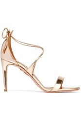Aquazzura Linda Mirrored Leather Sandals Gold