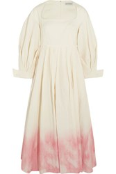 Vika Gazinskaya Ombre Pleated Linen And Silk Blend Dress Ecru