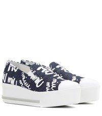 Miu Miu Platform Denim Sneakers Blue