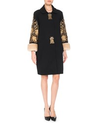 Andrew Gn Tassel Front Embroidered Wool Blend Coat W Fur Cuffs Black Gold
