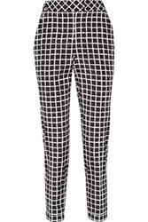 Oscar De La Renta Printed Wool And Cotton Blend Tapered Pants Black