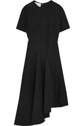 Cedric Charlier Asymmetric Crepe Midi Dress Black