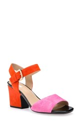 Geox Women's Marilyse Ankle Strap Sandal Orange Suede