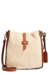 Sole Society Drury Faux Shearling Crossbody Bag Brown Cognac Combo