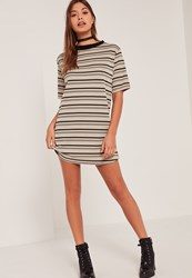 Missguided Multi Ribbed Neck Stripe T Shirt Dress