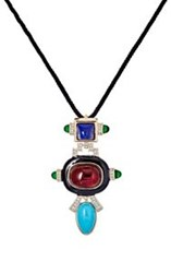 Kenneth Jay Lane Geometric Pendant On Braided Cord Colorless