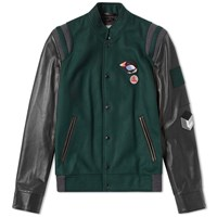 Lanvin Menton And Leather Varsity Jacket Green