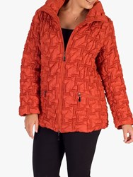 Chesca Bonfire Embroidered Quilted Coat Burnt Orange