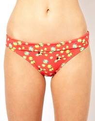French Connection Squiggle Print Tab Bikini Bottom Vibrantpinkmulti