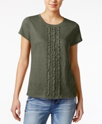 Maison Jules Cotton Ruffled T Shirt Only At Macy's Dusty Olive
