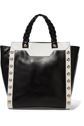 Just Cavalli Embellished Two Tone Leather Tote Black
