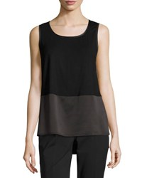 Lafayette 148 New York Shasta Sleeveless Scoop Neck Blouse Black